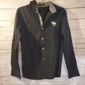 VSKA Mens Black Button Down Dress Shirt